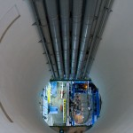 Looking down a 100m to part of the Atlast detector. This shaft is used to lower parts for the unfinished detector.
